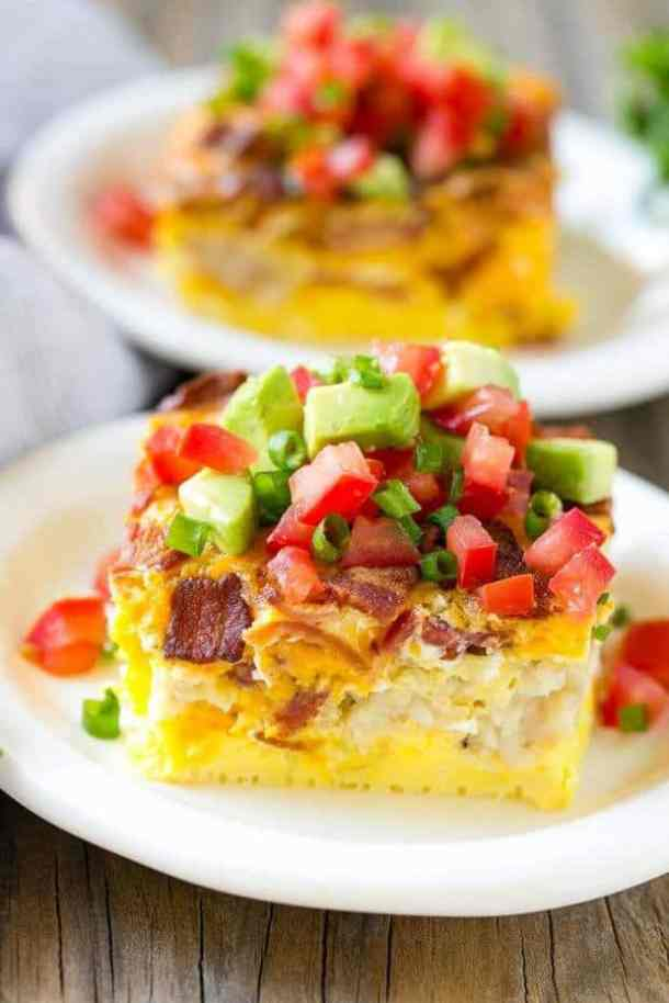 Breakfast Casserole with Bacon -- part of Cheesy Breakfast Recipes PERFECT for Saturday Mornings