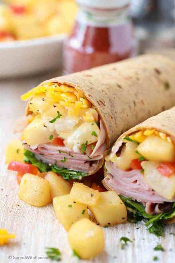 Ham and Hash Brown Breakfast Wraps -- part of Cheesy Breakfast Recipes PERFECT for Saturday Mornings