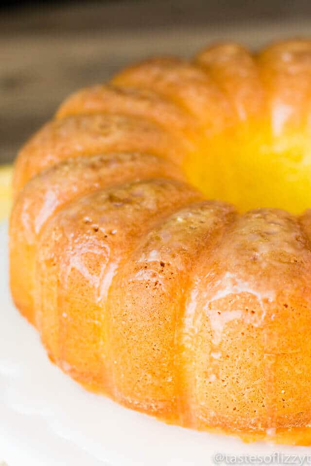 You'll love that this simple Lemon Pound Cake starts with a cake mix and a box of Jell-O! It's moist and full of lemon flavor which means it is perfect for spring!
