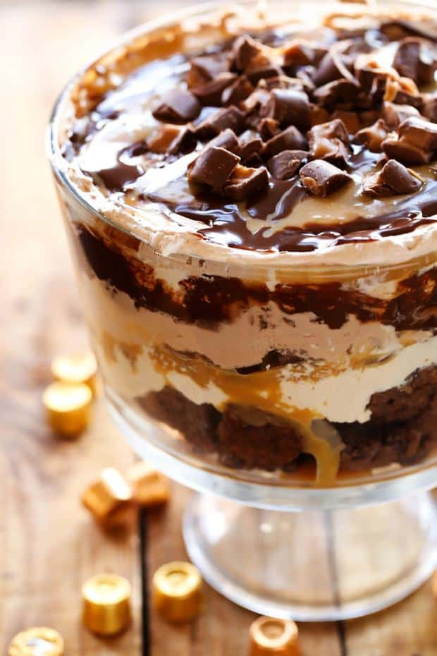 This dessert is so incredibly rich and delicious! This is the ultimate chocolate-caramel treat. With layers of ROLO brownies, caramel mousse, gooey caramel, chocolate mousse, chocolate sauce and ROLOS, this trifle is sure to be a show stopper wherever it goes!
