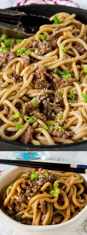garlic beef noodles bowls