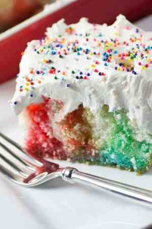 Rainbow Birthday Poke Cake