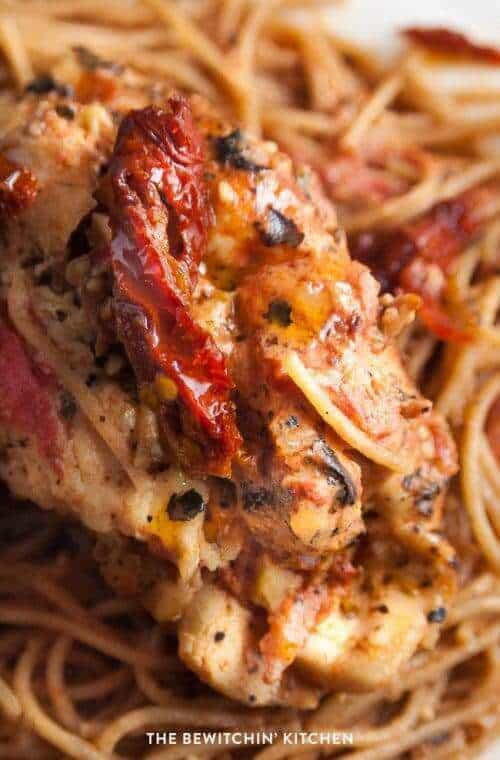 Creamy Sundried Tomato Stuffed Chicken Breasts with Tomato Parmesan Sauce
