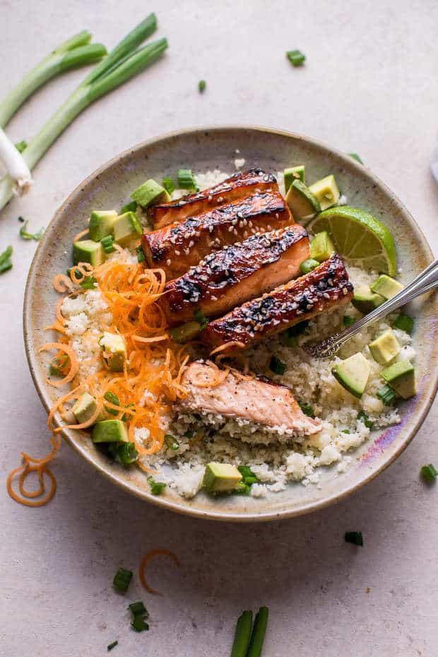 Glazed Hoisin and Sesame Salmon Bowl recipe