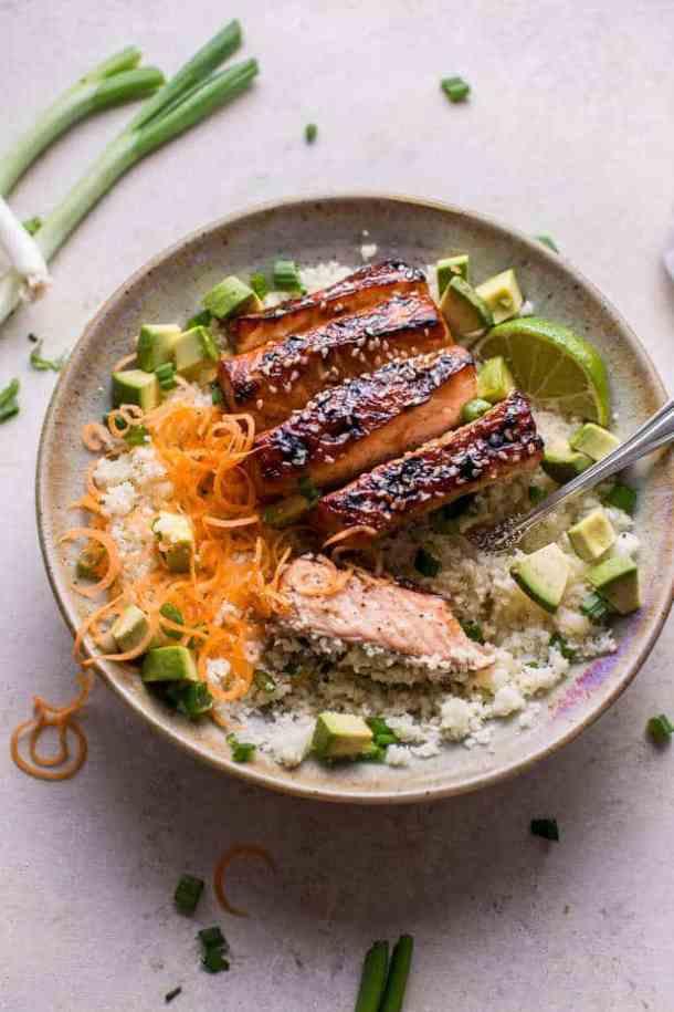 Glazed Hoisin and Sesame Salmon Bowl recipe