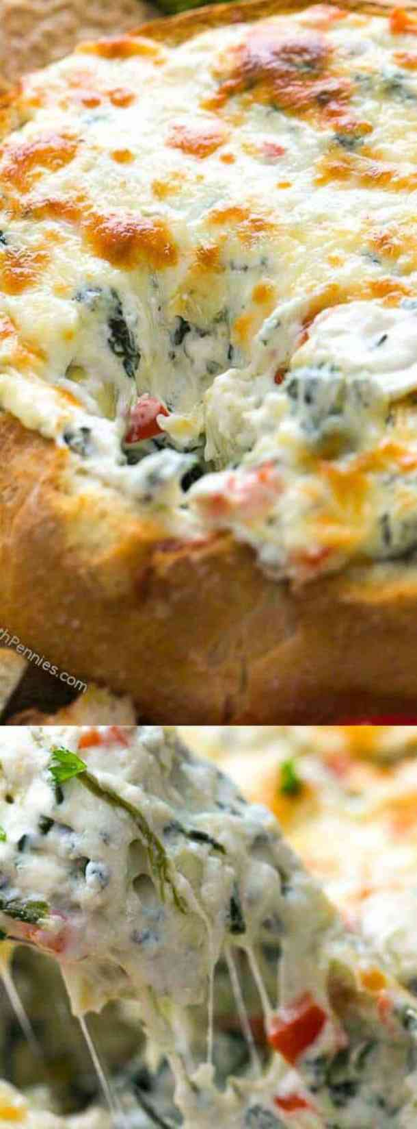 Hot Spinach and Artichoke Dip in a bowl