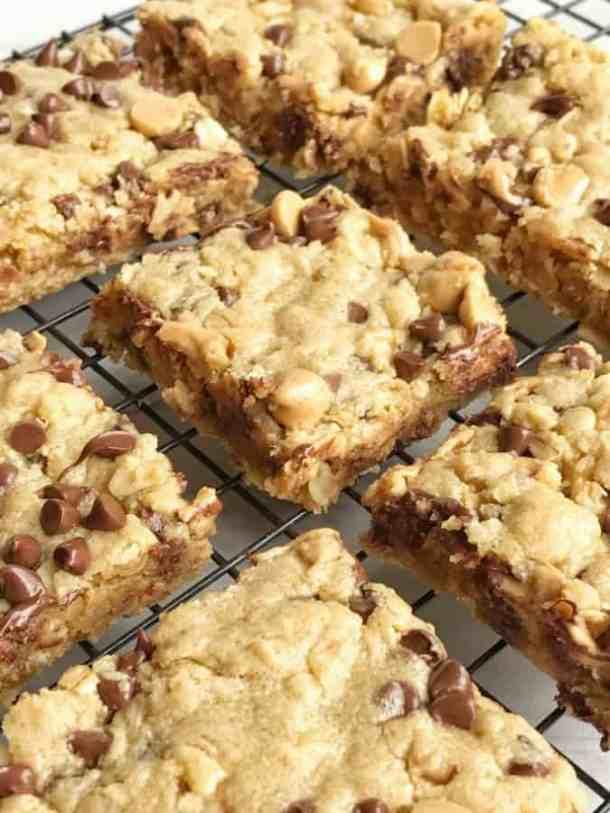 Oatmeal Chocolate Chip Peanut Butter Bars--Part of The Best Dessert Bars