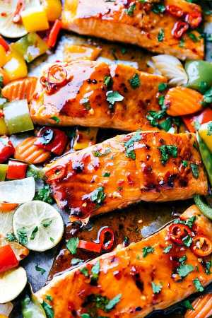 Sheet Pan Thai Glazed Salmon with Vegetables