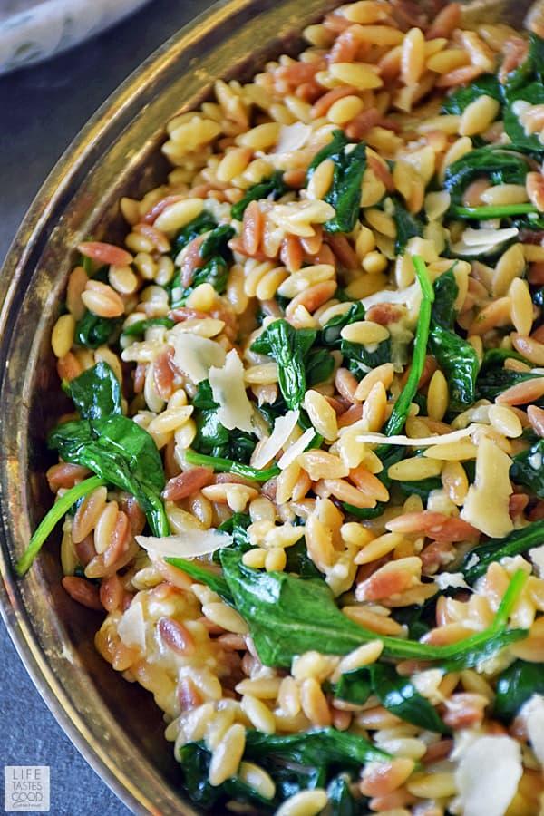 orzo pasta spinach parmesan recipe