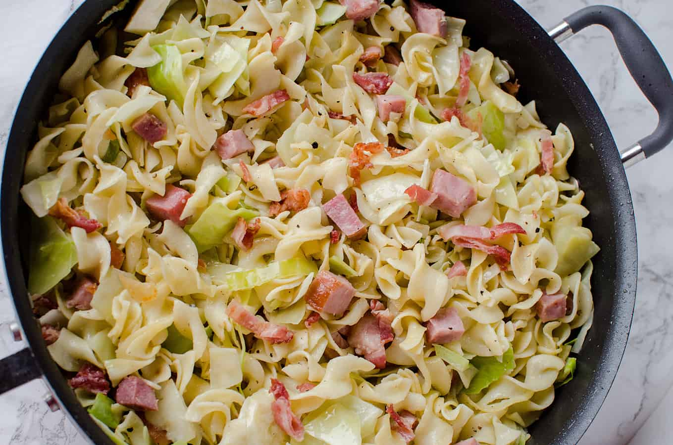 Cabbage and Noodles with Ham Recipe