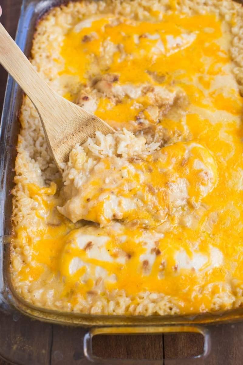 One Pan Cheesy Chicken Rice Recipe