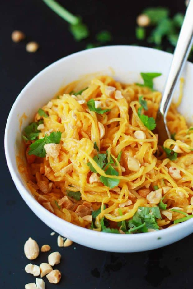 Spaghetti Squash Peanut Noodles are a low-carb, veggie packed wonder! Enjoy this healthier way to devour a classic dish.