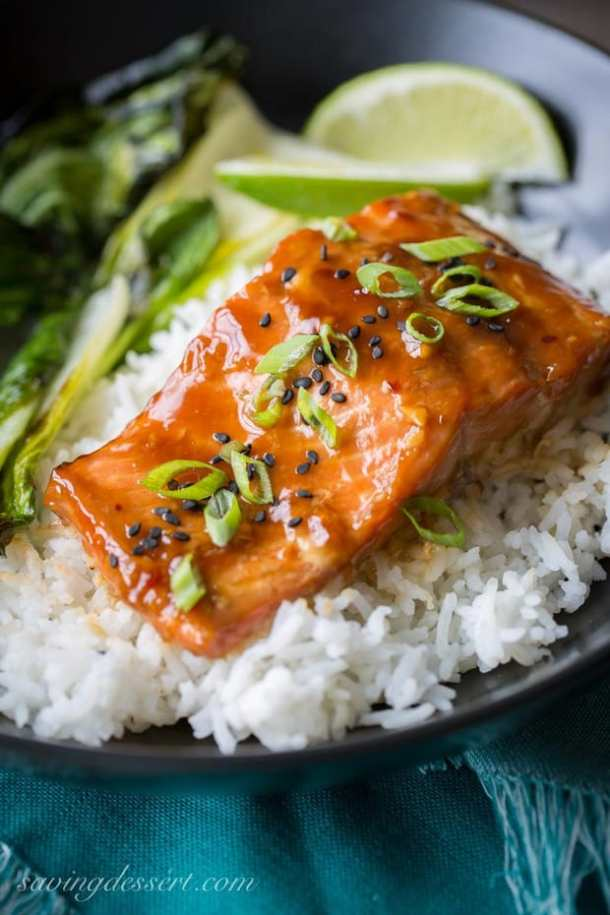 eriyaki Salmon Rice Bowls with Bok Choy Recipejpg