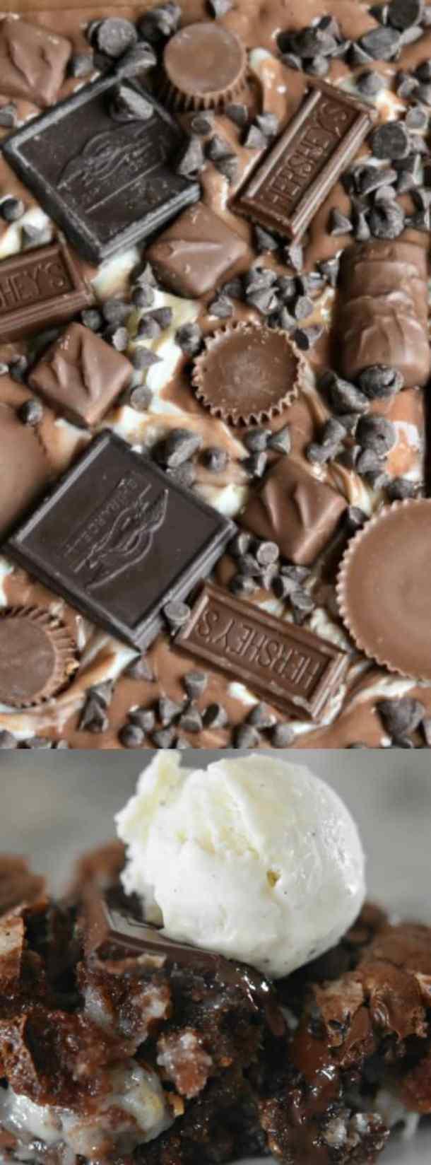 chocolate explosion earthquake cake with cream cheese swirl