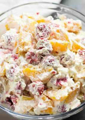 Raspberry Peach Cheesecake Salad