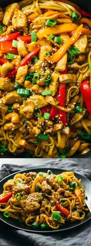 spicy cashew chicken noodles longpin