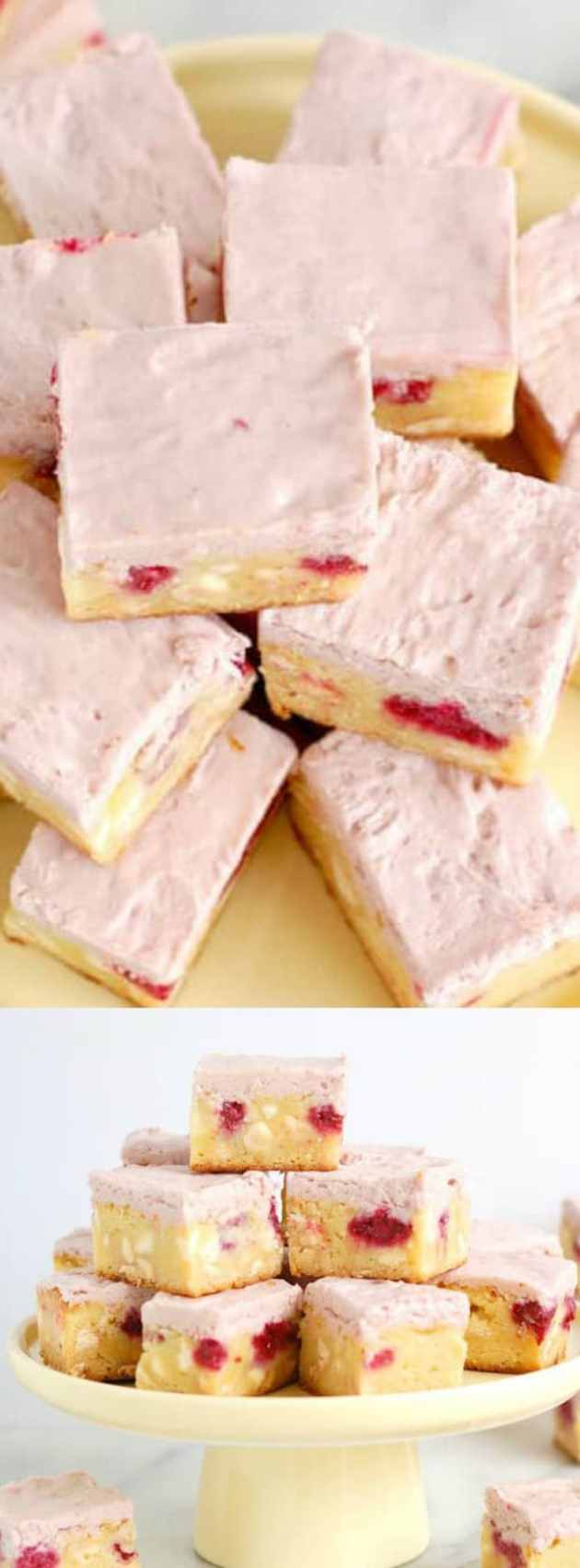 white chocolate brownies with raspberries longpin