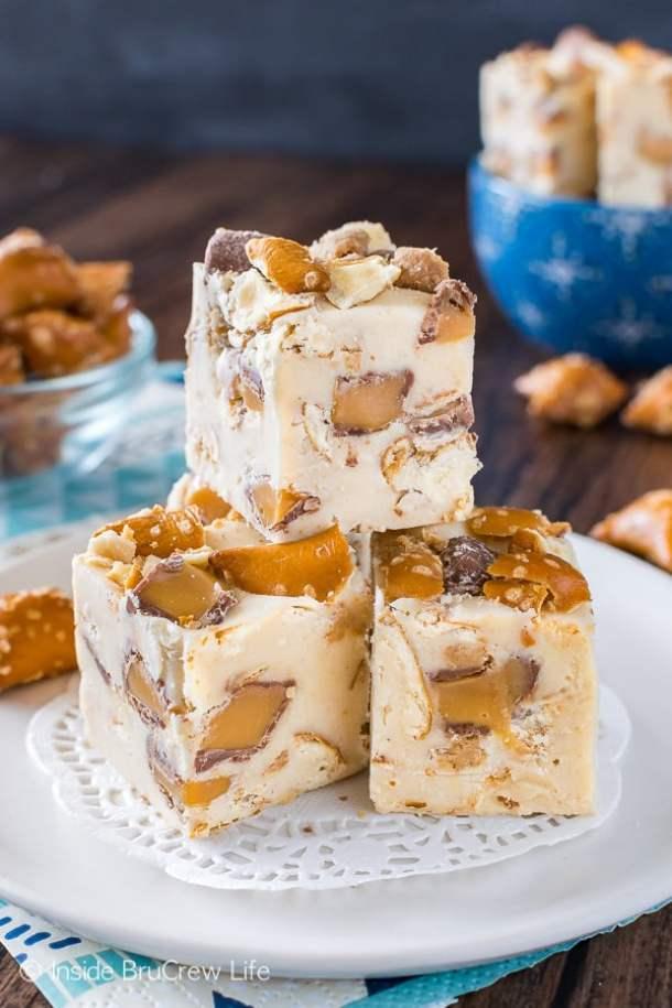 Caramel Peanut Butter Pretzel Fudge -- Part of the Best Fudge Recipes