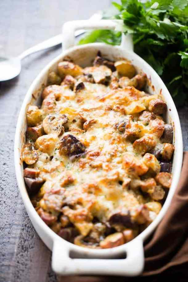 Cheesy Potato Gratin with Turkey Sausage and Mushrooms recipe