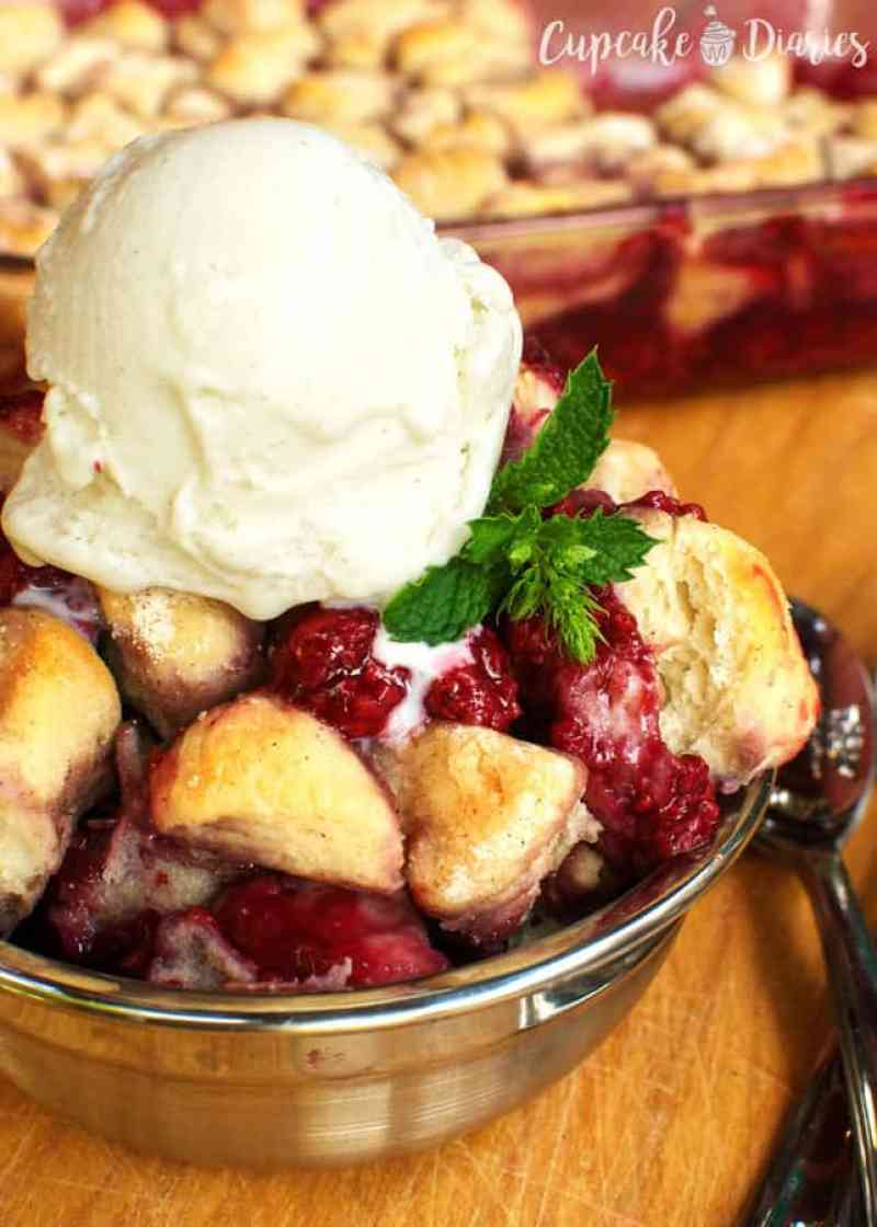 Easy Raspberry Biscuit Cobbler