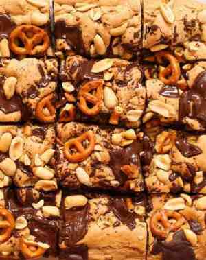 Peanut Butter Pretzel Gluten Free Cookie Bars