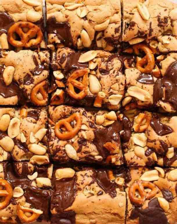 Peanut Butter Pretzel Gluten Free Cookie Bars