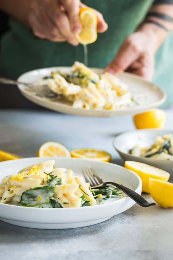 Penne pasta in a lemon Rosemary Goat Cheese Sauce recipe