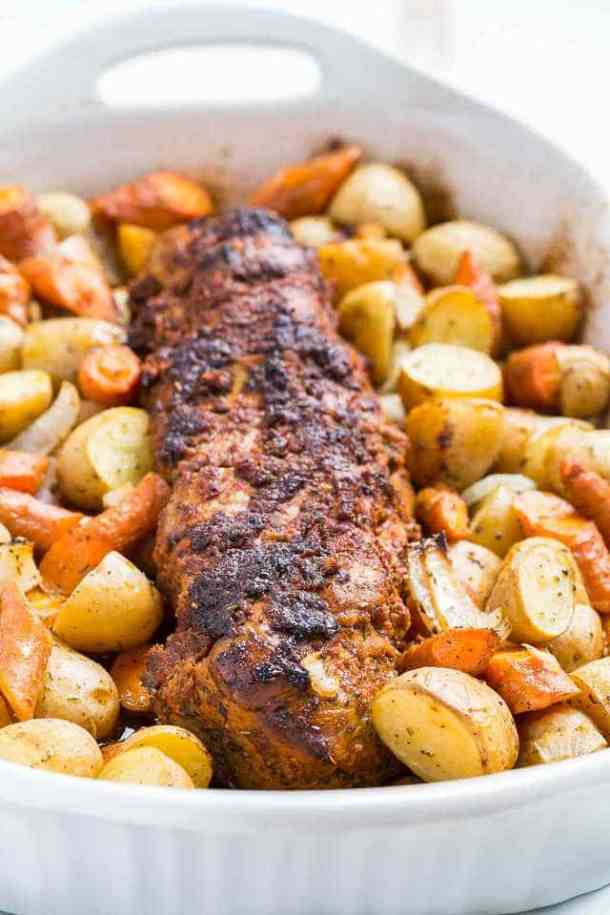 Tomato Roasted Pork Loin with Vegetables