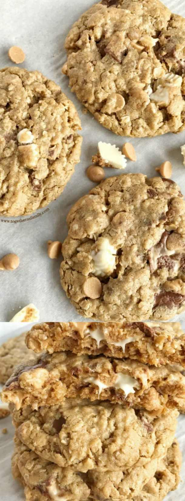 loaded reeses oatmeal peanut butter cookies