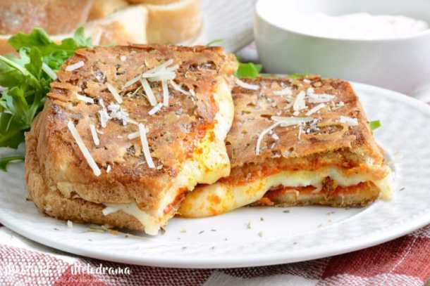 parmesan crusted pepperoni pizza grilled cheesee