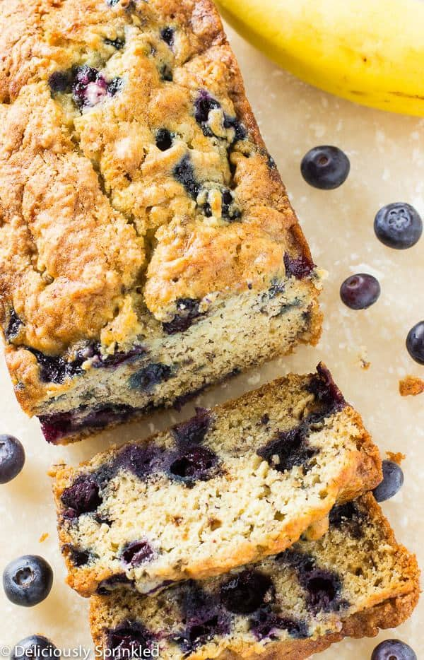 This moist and delicious Blueberry Banana Bread has the perfect combination of bananas and fresh blueberries that is super simple to make!
