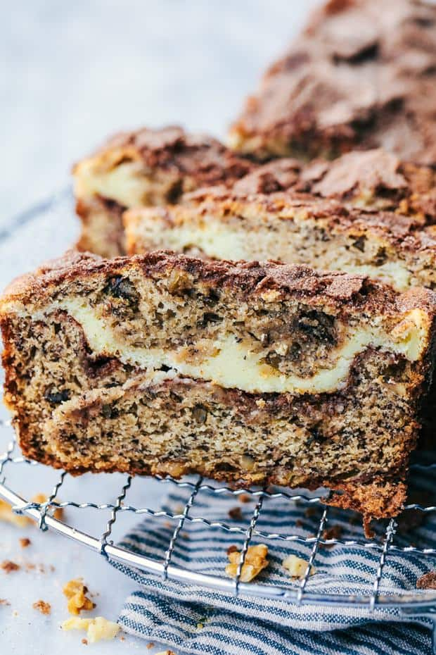 Cinnamon Swirl Cream Cheese Banana Bread has a delicious cinnamon swirl and cheesecake filling with walnuts hidden inside. This will easily be one of the best quick breads that you will ever make!