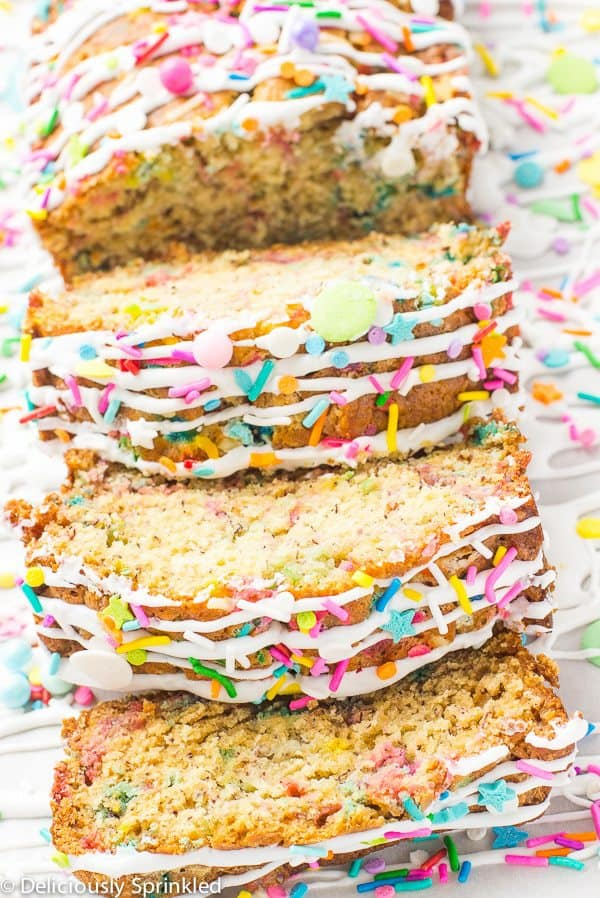 Simple to make Unicorn Banana Bread filled with SPRINKLES makes for a FUN way to start your day!