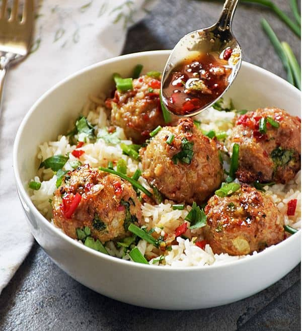 Asian Pork Meatballs over Coconut Rice Recipe