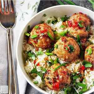 Asian Pork Meatballs over Coconut Rice