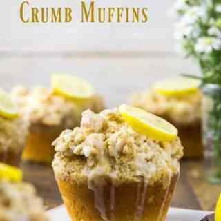 Glazed Jumbo Lemon Crumb Muffins with Yogurt