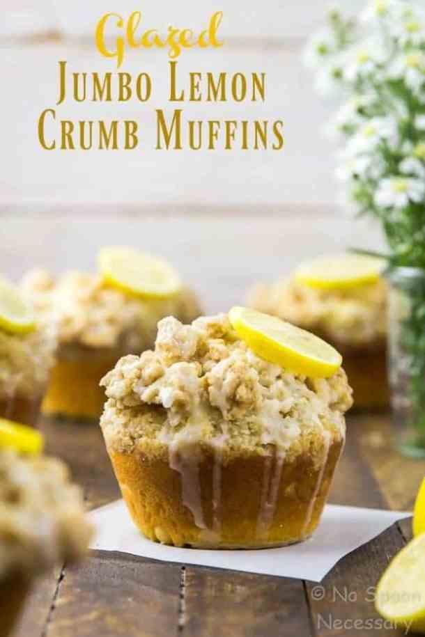 Glazed Jumbo Lemon Crumb Muffins with Yogurt