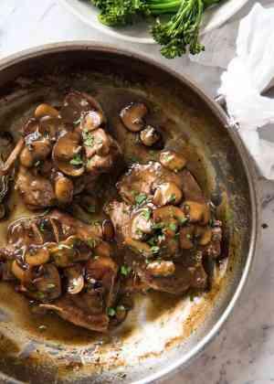 Honey Glazed Pork Chops with Mushrooms