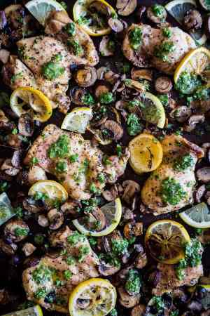 Sheet Pan Garlic Lemon Chicken and Mushrooms
