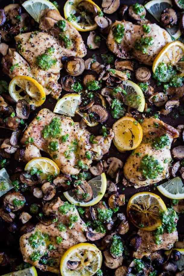 Sheet Pan Garlic Lemon Chicken and Mushrooms