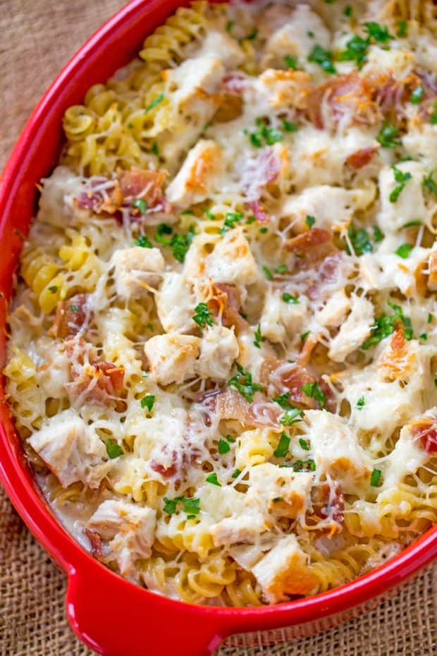 Chicken Bacon Ranch Pasta Bake--Part of The Best Chicken Bacon Ranch Recipes