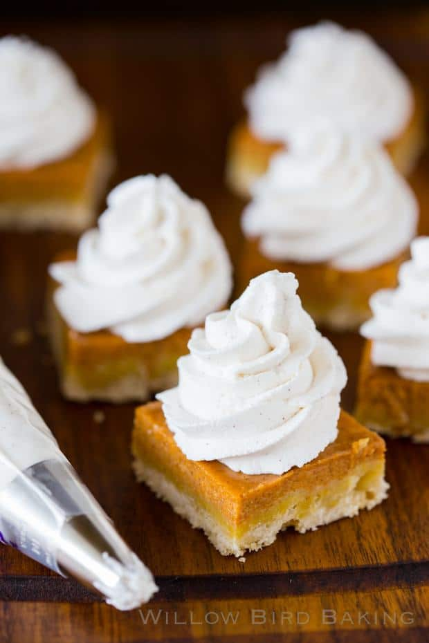Boring old pumpkin pie has too much pumpkin custard, a soggy crust, and a sad dollop of whipped cream. These bars fix the mixed-up proportions, pairing a buttery shortbread crust with an equal amount of pumpkin custard. A mountain of incredible maple cinnamon whipped cream rounds out the fall dessert you won't be able to get enough of!