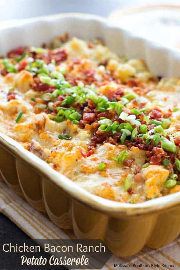 Chicken Bacon Ranch Potato Casserole--Part of The Best Chicken Bacon Ranch Recipes