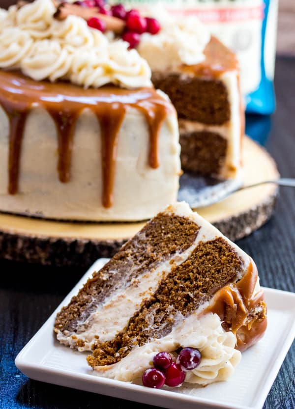 Gingerbread Cake with Cinnamon Cream Cheese Frosting and Caramel Drizzle Recipe