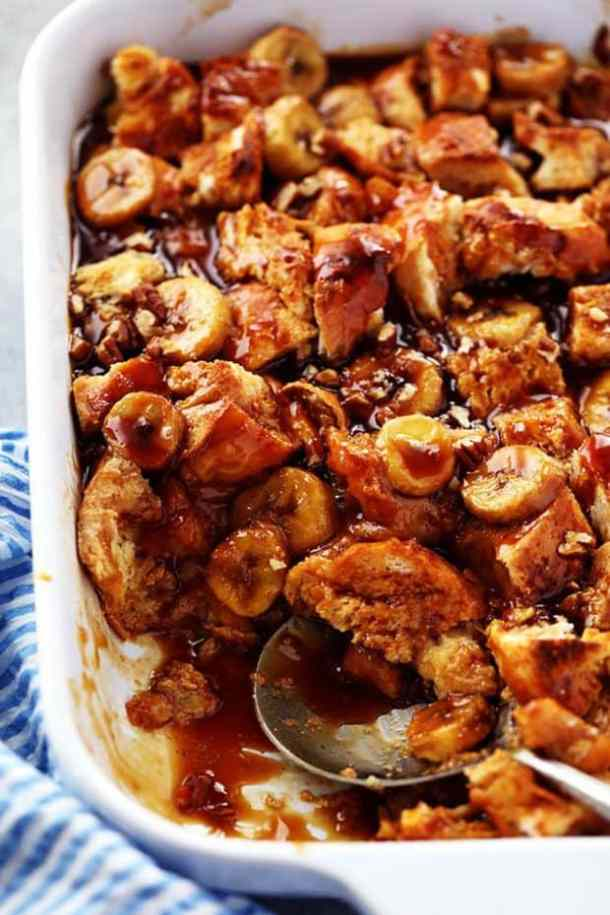 Overnight Caramel Banana French Toast with Caramel Syrup--Part of The Best French Toast Recipes