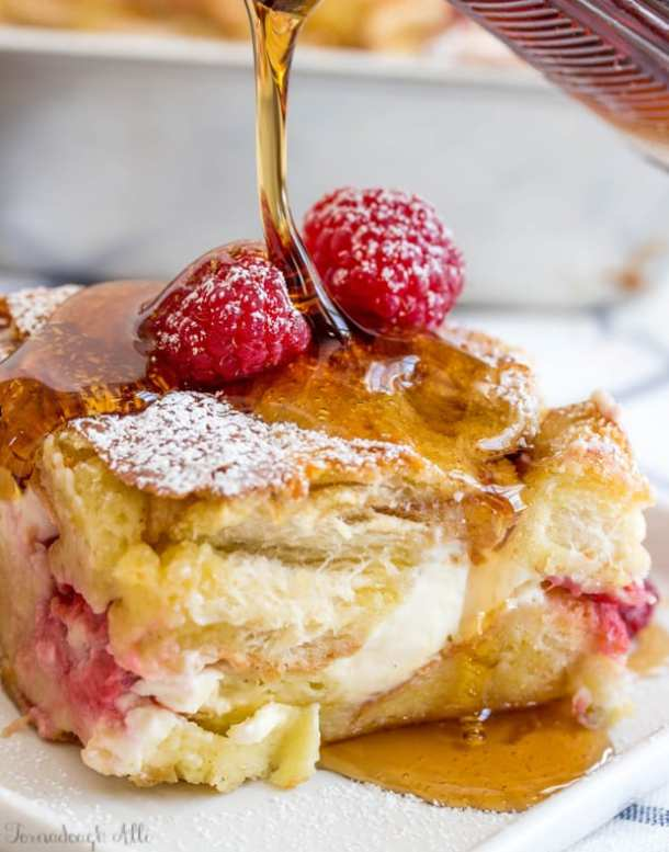 Overnight Raspberry Cream Cheese French Toast Bake--Part of The Best French Toast Recipes