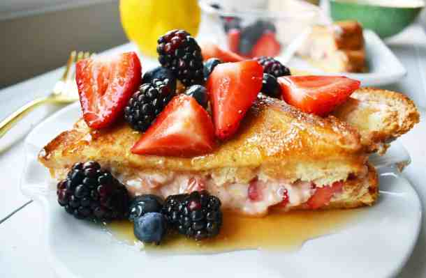 Strawberries and Cream Stuffed French Toast--Part of The Best French Toast Recipes