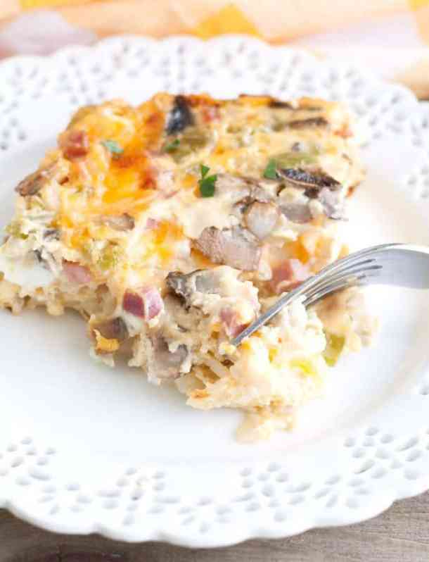 Western Omelet Breakfast Casserole -- part of Cheesy Breakfast Recipes PERFECT for Saturday Mornings