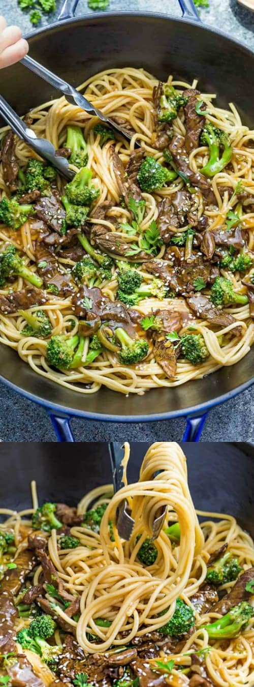 Beef Lo Mein Noodles with Broccoli
