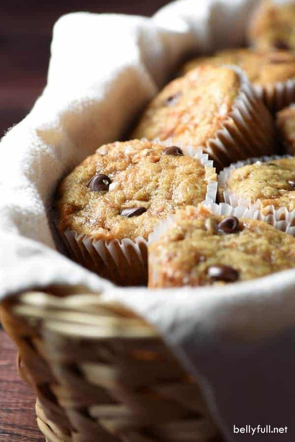 Chocolate Chip Toffee Banana Bread Muffins are rich and wonderful. They freeze beautifully and reheat in seconds. Enjoy them with a cup of coffee or cold glass of milk!